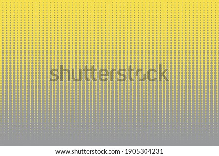 Trendy halftone background in yellow and gray colors. Abstract geometric poster with dots. Yellow and gray circles. Trendy 2021 colors of the year. Vector illustration.