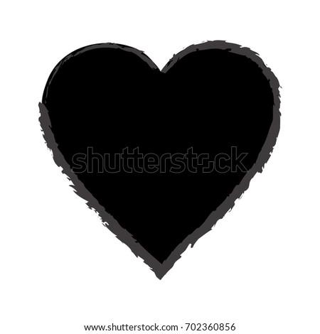 trendy hand drawn black heart