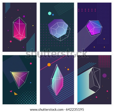 Trendy hipster posters set with  crystals and  triangles. Neon colored hipster flyers collection.  Vector illustration.