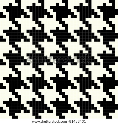 Trendy hounds tooth pattern made up of tiny square shapes that tiles seamlessly as a pattern.