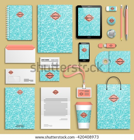 Trendy ice fresh summer red blue Corporate identity template set. Business stationery mock-up with logo. Branding design. Geometric background.