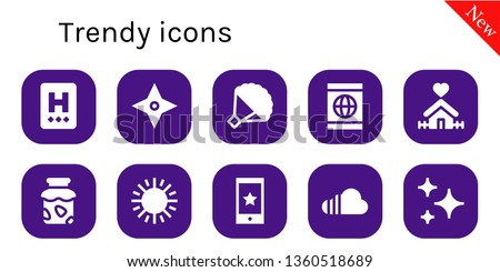 trendy icon set. 10 filled trendy icons.  Collection Of - Hotel, Star, Bouquet, Smartphone, Home, Jam, Sun, Soundcloud, Stars