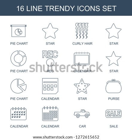 trendy icons. Trendy 16 trendy icons. Contain icons such as pie chart, star, curly hair, rec, calendar, purse, car, sale. trendy icon for web and mobile.