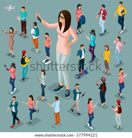 Trendy Isometric people and gadgets, 3D teenagers, students, large group of people, using hi tech technology, a girl playing, phone, make selfie protagonist isolated.