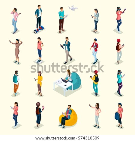 Trendy Isometric people and gadgets, teenagers, young people, students, using hi tech technology, mobile phones, pad, laptops, make selfie, smart watches, virtual games, navigators on bright backgroun