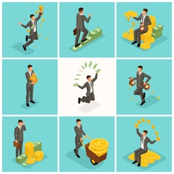 Trendy isometric people, 3d businessman, concept with young businessman, money, success, gold, wealth, joy, work, start-up on a blue background.