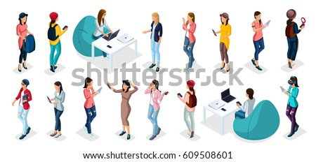 Trendy isometric vector people, 3d person teenagers, modern young people and gadgets, freelancers, startup, coworking, office work, entrepreneur isolated background