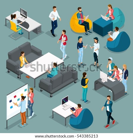 Trendy isometric young creative people, set 4 in stylish clothes with modern hairstyles. Freelancers students, hipsters isolated. Vector illustration.