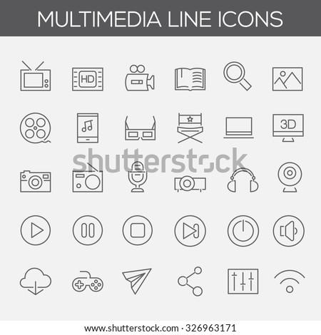 Trendy line icons - Multimedia