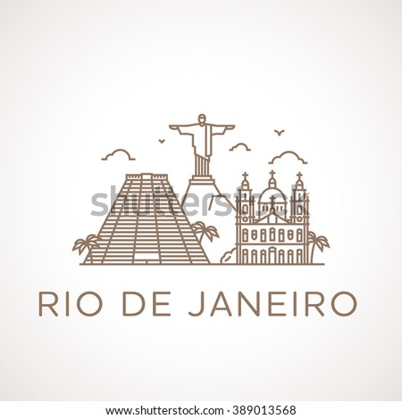 trendy line illustration of rio