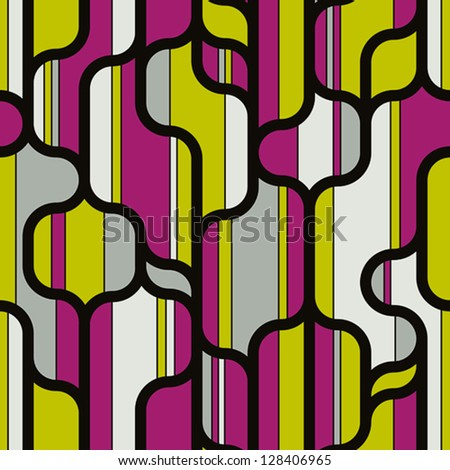 Trendy lines shapes and colors seamless pattern, vector design background.