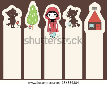 Trendy Little Red Riding Hood Post-it Bookmark Stickers Character Design illustration