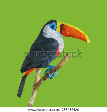 """Trendy """"low poly"""" Colored Toucan.Vector Low Poly, Polygonal Illustration."""