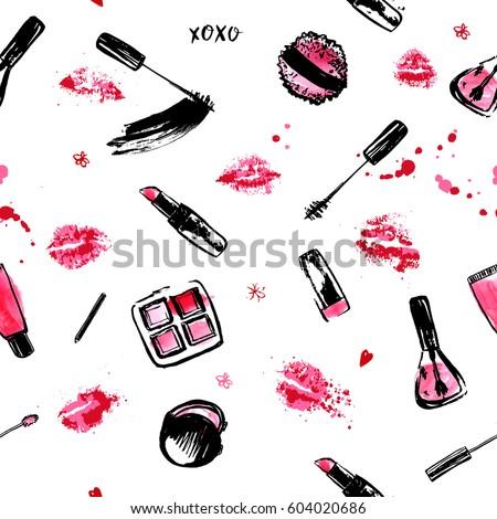 Trendy Make Up Hand drawn seamless pattern. fashion style cosmetics with nail polish, lipstick, mascara, brush, lip gloss, lips. Pink and black