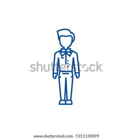 Trendy man,dude,hipster line icon concept. Trendy man,dude,hipster flat  vector symbol, sign, outline illustration.