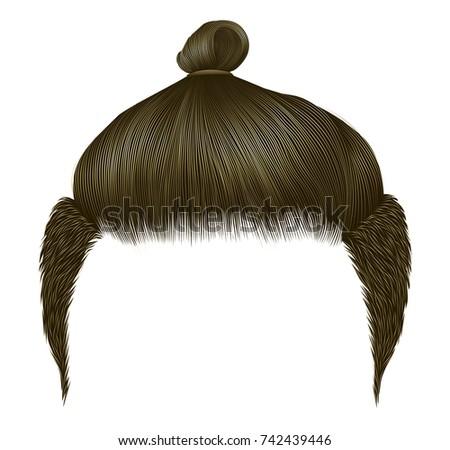 trendy man hair bun brown