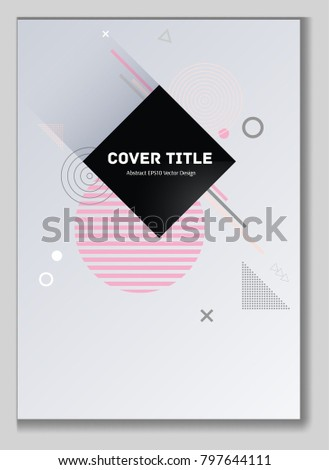 Trendy memphis design placard pattern with white, orange and pink shapes. Cool memphis tile placard page. Front page design for business notebook, dairy or notepad.