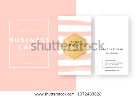 Trendy Minimal Abstract Business Card Template Modern Corporate Stationery Id Layout With Artistic Brush Splashes