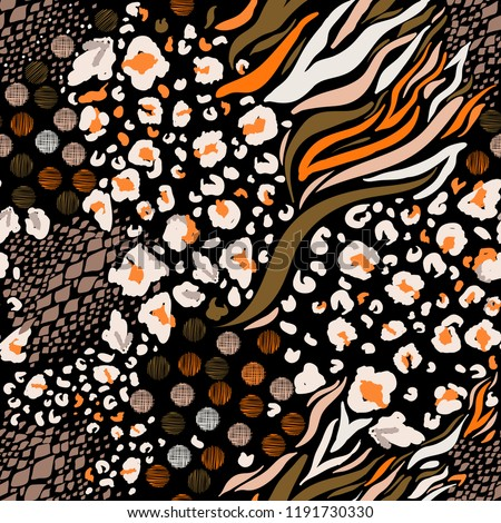 Trendy  Mix animal skin prints ,Leopard, snake, zebra, tiger safari africa seamless pattern vector design for fashion,fabric and all prints on black background