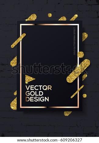 Trendy modern mockup design with gold sparkles on black brick wall.