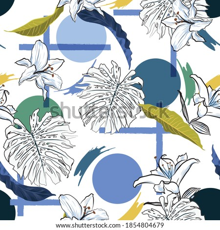 Trendy Modern tropical monstera leaves and lilies flowers with geometric shape seamless pattern vector,Design for fashion , fabric, textile, wallpaper, cover, web , wrapping and all prints