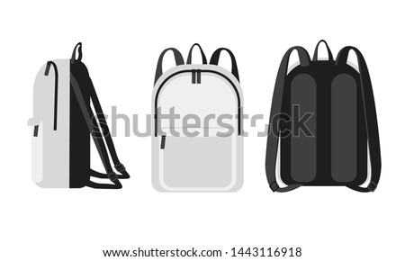 Trendy modern universal white  backpack  front, back and side veiw. Bag with Orthopedic back  study concept mockup. Tourism, female, lifestyle and school backpack vector illustration Foto stock ©