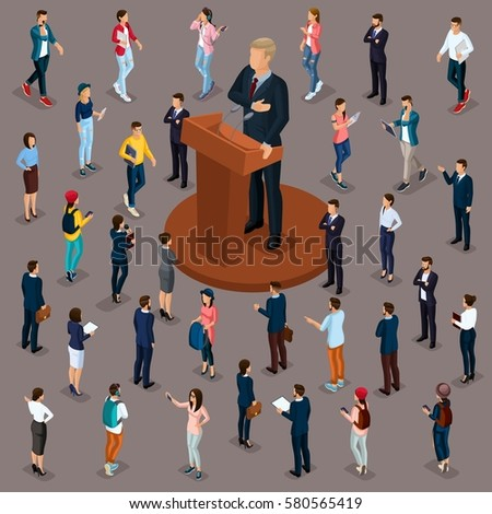 Trendy People Isometric vector 3D business, people, meeting, voting, presidential election, speech at trebune, isolated on a dark background.