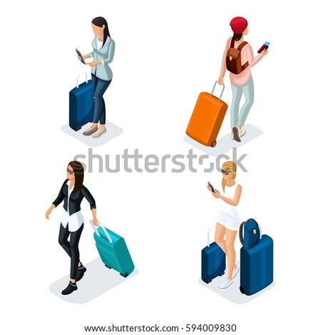Trendy People Isometric vector 3D teenagers, young girls in stylish clothes, traveler, vacation, airport, baggage, telephone, 4 girls isolated on white background.