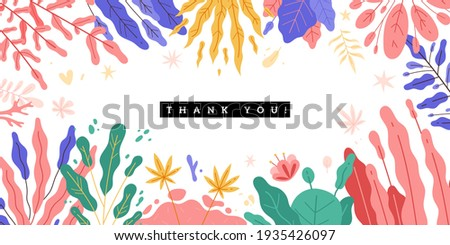 Trendy plants frame. Spring design background, color magic flowers, tropical abstract forest, decorative beautiful garden. Vector concept