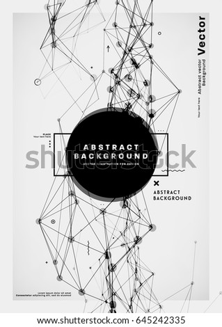 Trendy polygonal wireframe mesh poster template. Connected dots and lines abstract geometric structure. Social network concept cover page. Digital data visualization technology placard. Eps10 vector
