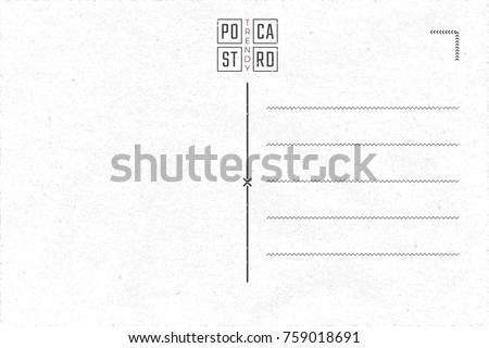 Trendy Postcard Inner Side Blank Template with Contemporary Logo Lettering Authentic Composition - Black Elements on White Old Rough Paper Background - Vector Flat Graphic Design