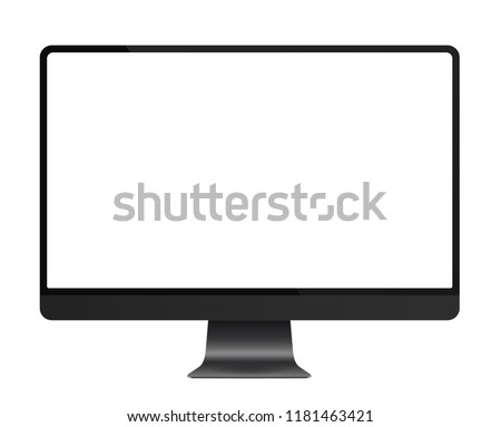Trendy realistic thin frame monitor mock up with blank white screen isolated.