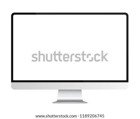 Trendy realistic thin frame silver monitor mock up with blank white screen isolated.
