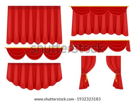 Trendy red curtains flat pictures collection. Cartoon fabric drapery for stage background in movie or opera isolated vector illustrations. Decoration and interior elements concept
