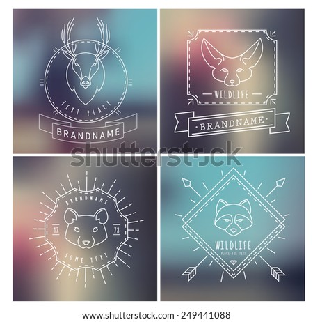 Trendy Retro Vintage Insignias Bundle Animals Hamster deer raccoon fox Vector set of outline emblems and badges abstract hipster logo templates
