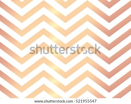 Trendy rose gold chevron patterned on white background. Rose gold abstract wallpaper. Elegant luxury art deco pattern.