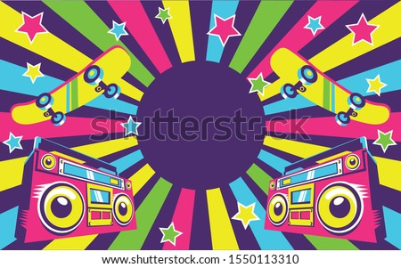 Trendy. 90's and 80's party, 90s fashion, 90's background, 90's and 80's graphic, 80's style, pop music party 1990, vintage night.  Poster design. Retro style design club.