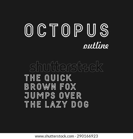 Trendy sans serif font in uppercase (outlined version)