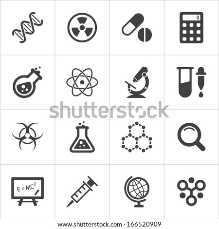 trendy science icons on white