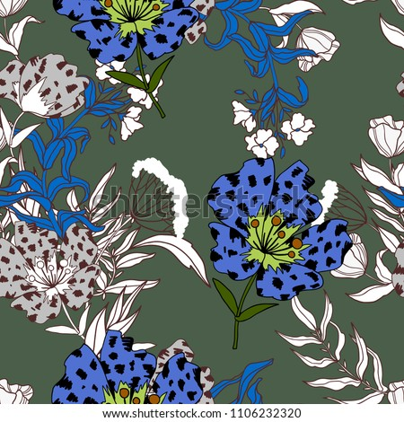 Stock Photo Trendy seamless design with big flowers lileys for textile print.