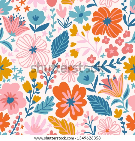Trendy seamless floral ditsy pattern. Fabric design with simple flowers. Vector cute repeated pattern for baby fabric, wallpaper or wrap paper
