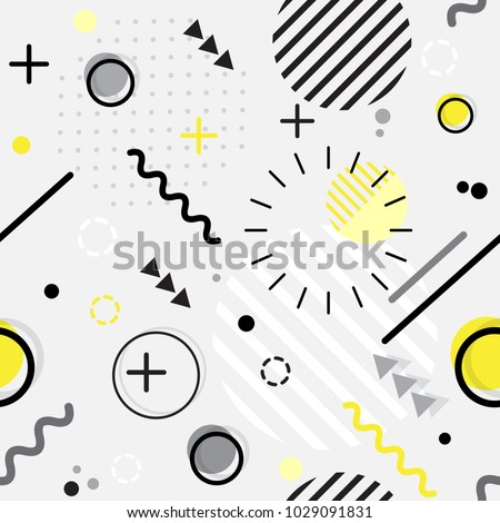 Trendy seamless Memphis style geometric pattern with bright geometric leaves foliage, vector illustration with line elements and abstract geometric figures. Design backgrounds for wallpaper.