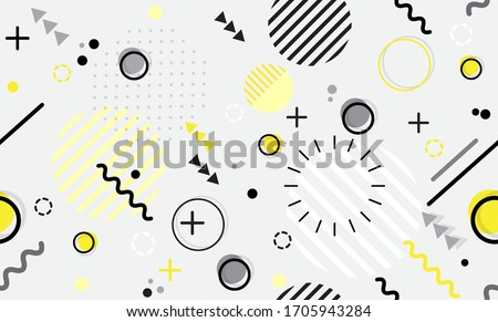 Trendy seamless Memphis style geometric pattern with bright geometric leaves foliage vector illustration with line elements and abstract geometric figures Design backgrounds for wallpaper Foto stock ©