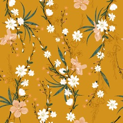 Trendy seamless pattern of garden many kind of botanical plants,flowers,orchid ,floral design for fashion,fabric,wallpaper,web and all prints on retro yellow  background color