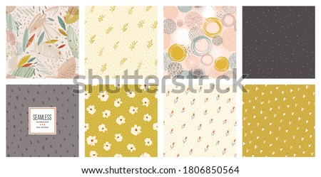 Trendy seamless patterns set. Cool abstract and floral design. For fashion fabrics, kid's clothes, home decor, quilting, T-shirts, cards and templates, scrapbooking etc. Vector illustration