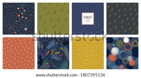 Trendy seamless patterns set. Cool abstract design. For fashion fabrics, home decor, quilting, backgrounds, cards and templates, scrapbooking etc. Vector illustration.