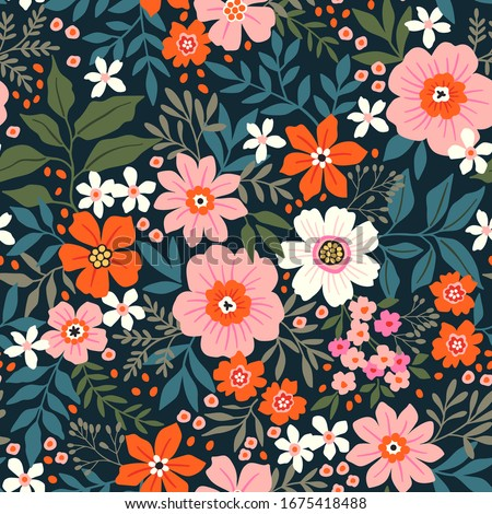 Trendy seamless vector floral pattern. Endless print made of hand draw flowers, leaves and berries. Summer and spring motifs. Black background. Vector illustration.