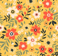 Trendy seamless vector floral pattern. Endless print made of small white and orange flowers. Summer and spring motifs. Bright yellow background. Stock vector illustration.
