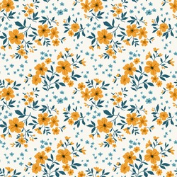 Trendy seamless vector floral pattern. Endless print made of small yellow flowers. Summer and spring motifs. White background. Stock vector illustration.