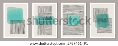 Trendy set of abstract creative minimalist artistic hand painted compositions ideal for wall decoration, as poster or brochure design, vector illustration
